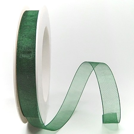 Organzaband tannengrün: 15mm breit /25m-Rolle
