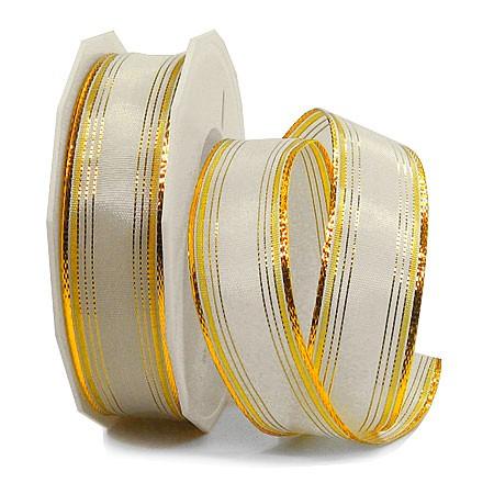 Dekorband-Chamonix: 25mm breit / 20m-Rolle, creme-gold