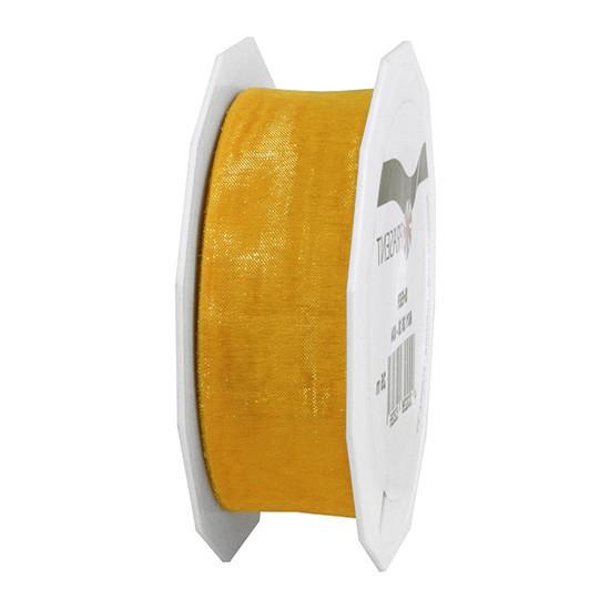 Organzaband-Sheer: 25mm breit / 25m-Rolle, gold.