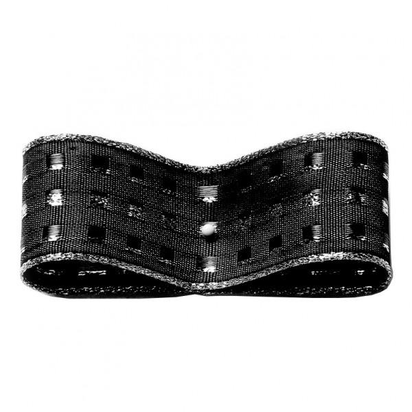 Dekorband-GLAMOUR, schwarz-silber: 25mm breit / 25m-Rolle, mit Drahtkante