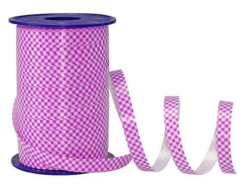 PolyKaro-Ringelband, pink-weiß - 10mm breit / 200m-Rolle