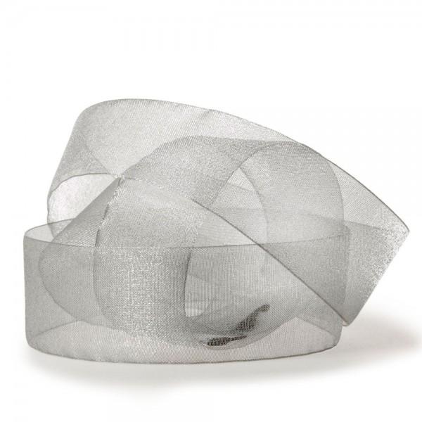 Organzaband-CHIFFON, grau: 40mm breit / 50m-Rolle, mit feiner Webkante.