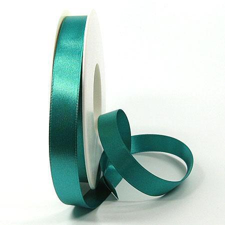 Satinband SINFINITY, petrol: 15mm breit / 25m-Rolle, mit feiner Webkante.