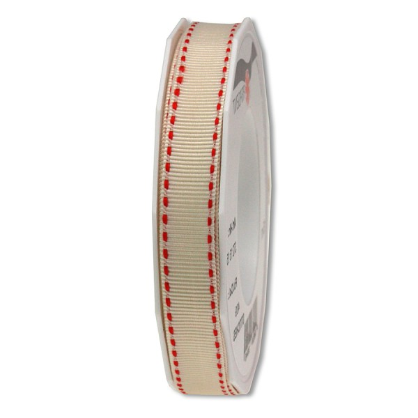 Ripsband-STITCHES, 15mm breit / 15m-Rolle, creme-rot