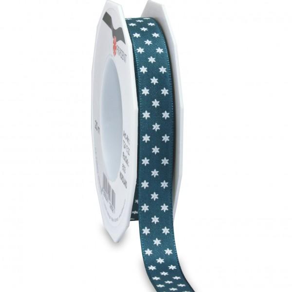 Sternchenband: NORDLAND: 15mm breit/ 20m- Rolle, azurblau