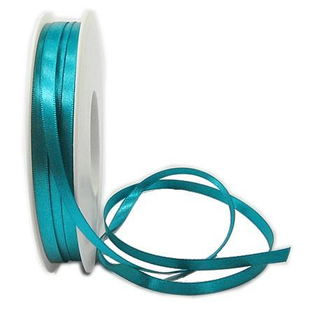 Satinband SINFINITY, dunkeltürkis: 6mm breit / 50m-Rolle, mit feiner Webkante.