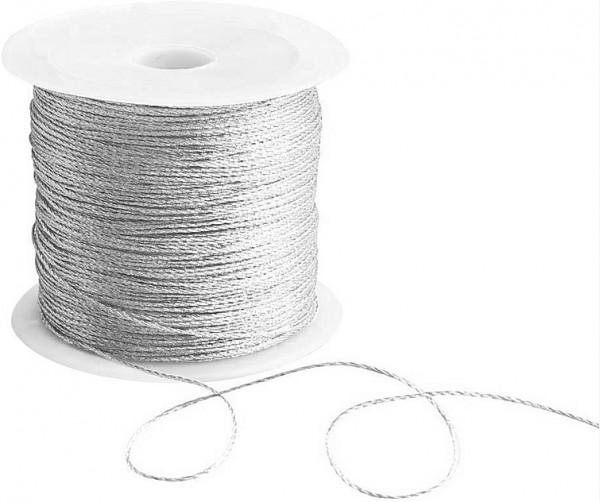 Draht-Kordel, silber-metallic: 1 mm breit / 50 Meter