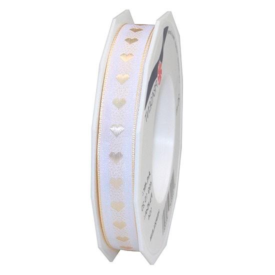 Dekorband-HERZILEIN: 15mm breit / 20m-Rolle, creme-weiß