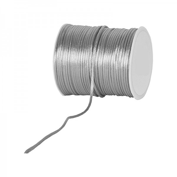 Satinkordel-Seidenkordel: 3mm Ø breit / 100m-Rolle, grau-silber.