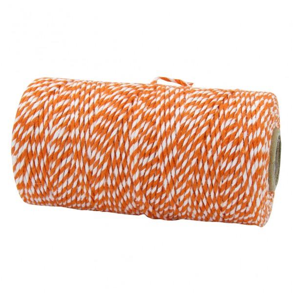 Bäckergarn, orange-weiß: 1,5mm breit / 100m-Rolle