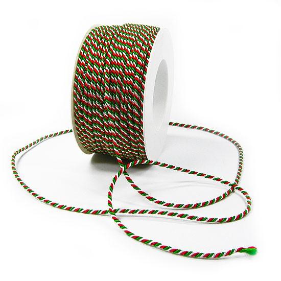 Italien-NRW-Kordel: 2mm breit / 50m-Rolle, grün-weiß-rot