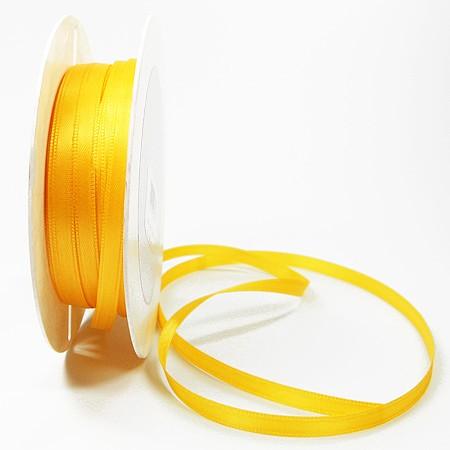 Satinband-SINFINITY, gelb: 6 mm breit / 50 Meter, mit feiner Webkante.