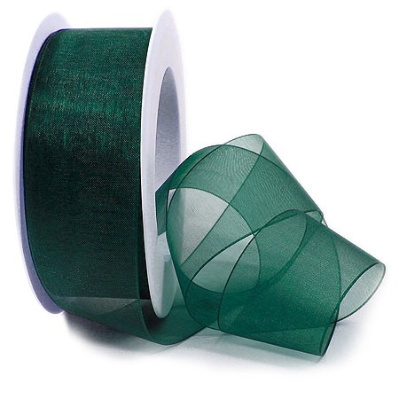 Organzaband, tannengrün: 38mm breit / 25m-Rolle