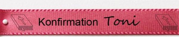 Beispiel Konfirmationsband, pink: 15mm breit / 25m-Rolle