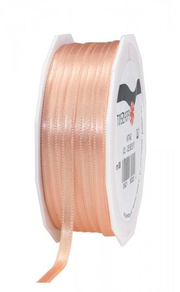 Satinband-PRÄSENT: 6mm breit / 50m-Rolle, apricot.