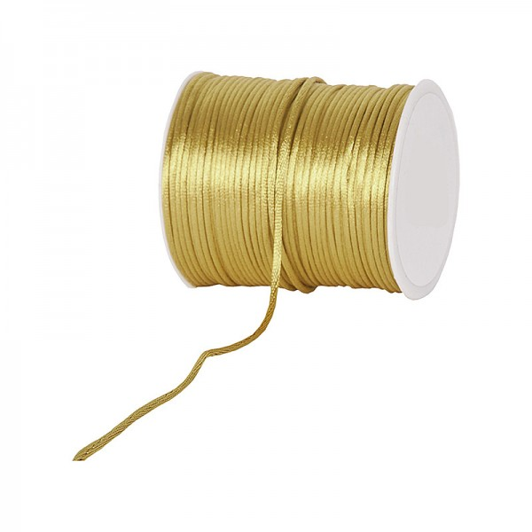 Satinkordel-Seidenkordel: 3mm Ø breit / 100m-Rolle, gold