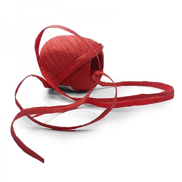 PAPER-Raffia-Bast, rot: 5mm breit / 50m-Rolle