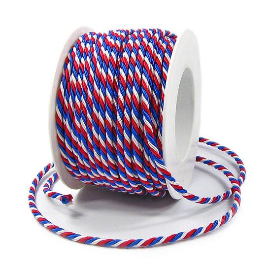 Frankreich-NL-Kordel: 4mm breit / 25m-Rolle, blau-weiß-rot