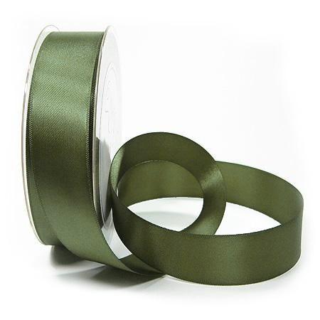 Satinband SINFINITY, olivgrün: 25mm breit / 25m-Rolle, mit feiner Webkante.