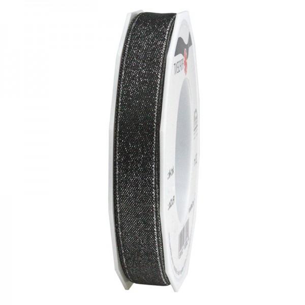 GLITTER-Satinband: 15mm breit/20m-Rolle, schwarz mit Silber-Glitzer