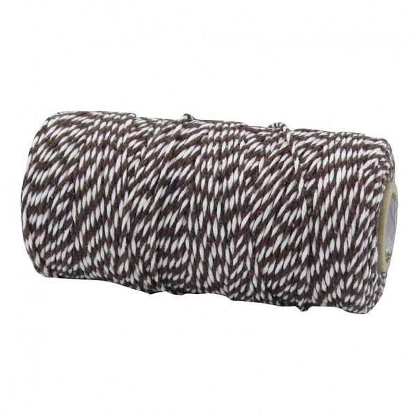 Bäckergarn, dunkelbraun-weiß: 1,5mm breit / 100m-Rolle