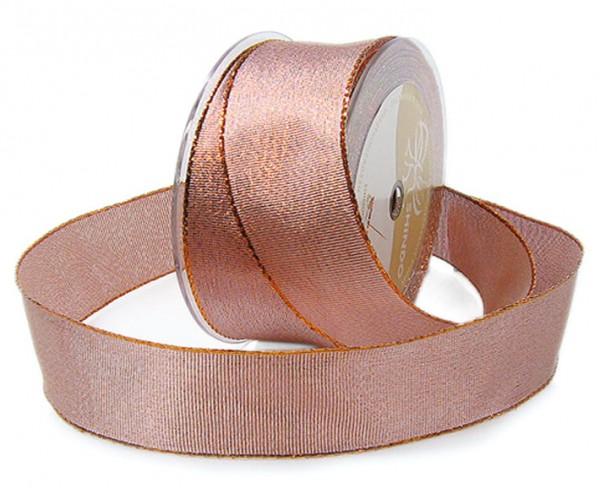 Brokatband, kupfer: 60mm breit / 25m-Rolle, mit Drahtkante.