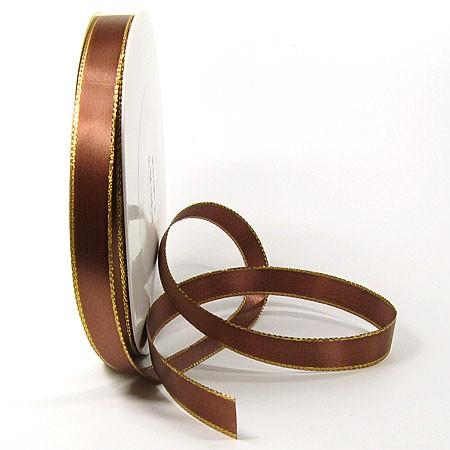 Satinband-VEGAS, mit Lurex-Goldkante: 15mm breit / 50m-Rolle, braun-gold