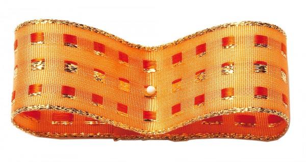Dekorband-GLAMOUR, apricot-gold: 38mm breit / 25m-Rolle, mit Drahtkante