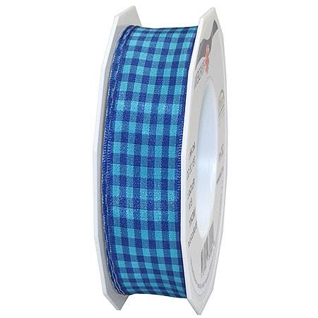 Vichy Multicolor, blau: 25mm breit / 20m-Rolle