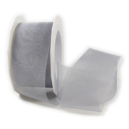 Organzaband-Sheer: 40mm breit / 25m-Rolle, silber.