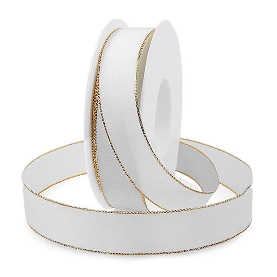 Basic-Drahtkantenband: 25mm breit / 25m, weiss-gold