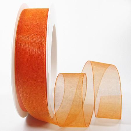 Organzaband mit Drahtkante, orange 25mm breit / 25m-Rolle