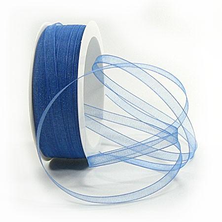 Organzaband: 5mm breit / 50m-Rolle, royalblau