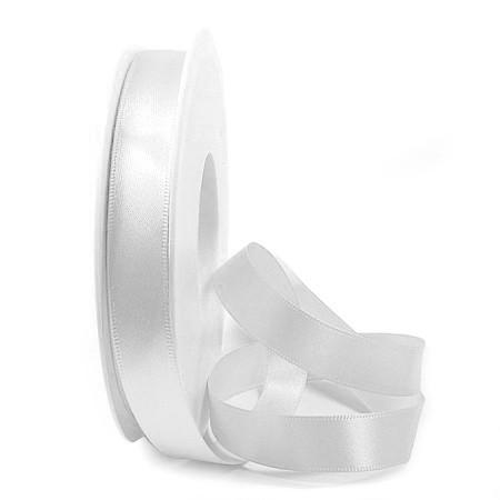 Satinband: 15mm breit / 25m-Rolle, weiss