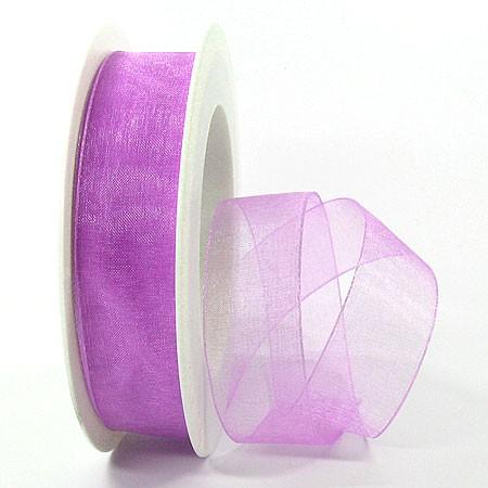 Organzaband mit Drahtkante, 25mm breit, 25m-Rolle: lavendel