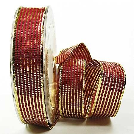 Geschenkband-LINES, bordeaux-gold: 25mm breit / 25m-Rolle, mit Drahtkante