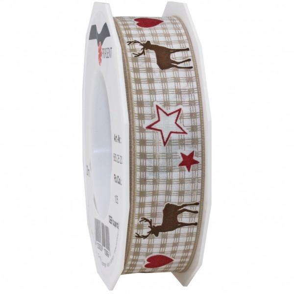 Weihnachtsband-DEER: 25mm/20m-Rolle, mit Drahtkante, taupe