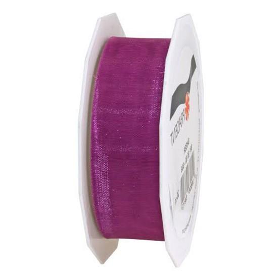 Organzaband-Sheer: 25mm breit / 25m-Rolle, fuchsia.