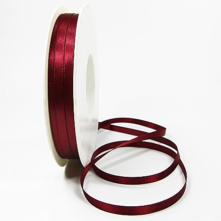 Satinband-SINFINITY, weinrot: 6mm breit / 50m-Rolle, mit feiner Webkante