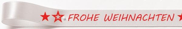 Weihnachtssatinband: 15mm breit / 25m-Rolle Frohe Weihnachten weiss mit roter Schrift