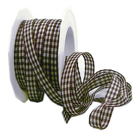 Karoband VICHY: 10mm breit / 20m-Rolle: braun- weiss
