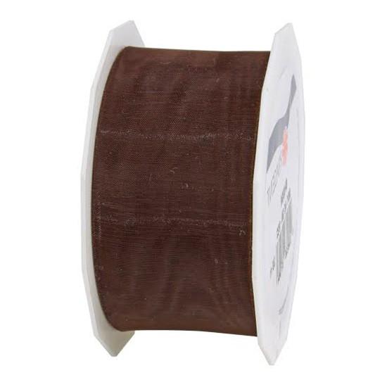 Organzaband-Sheer: 40mm breit / 25m-Rolle, dunkelbraun.