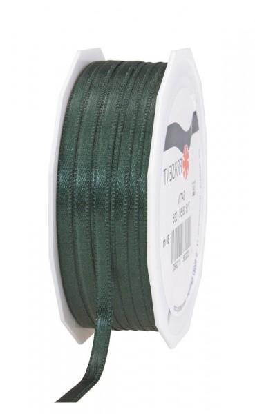 Satinband-PRÄSENT, tannengrün: 6mm breit / 50m-Rolle, mit feiner Webkante.