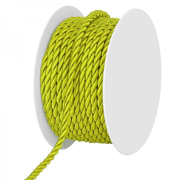 Kordel, einfarbig gedreht: 4mm breit Ø / 25m-Rolle, hellgrün.