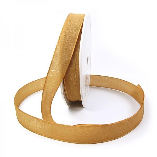 Leinenband-NATURAL, 16mm breit / 20m-Rolle, gold.
