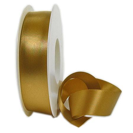 Satinband SINFINITY, gold: 25mm breit / 25m-Rolle, mit feiner Webkante.