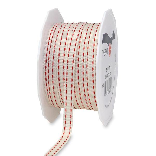 Ripsband-STITCHES, 7mm breit / 20m-Rolle, creme-rot