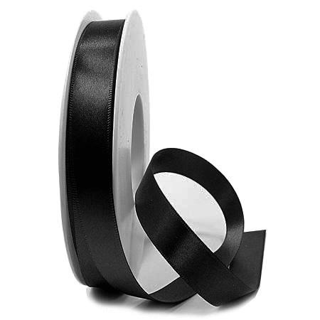 Satinband SINFINITY, schwarz: 15mm breit / 25m-Rolle, mit feiner Webkante.