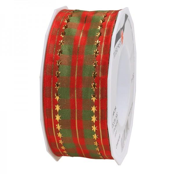 Weihnachtsband - BORMIO: 40mm breit / 20m-Rolle, rot-grün-gold