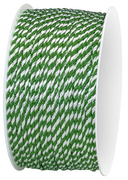 Kordel, grün-weiß 2-farbig gedreht: 2 mm breit / 50-Meter-Rolle
